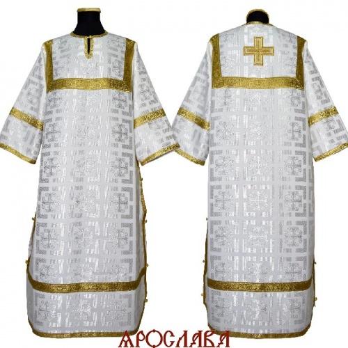 АРТ 2089. Стихарь белый шелк Трехсвятителей, обыденная отделка (цвет золото).