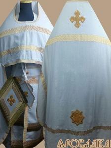 АРТ208. Риза лен, отделка цветной галун (бело-золотой).