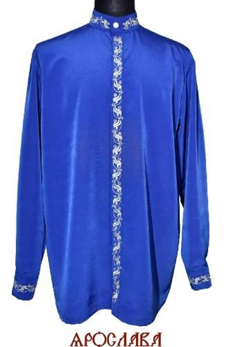 АРТ2101. Рубашка мокрый шелк,потайная застежка. Ворот стойка. Вышивка шелком: ворот, планка, манжеты.