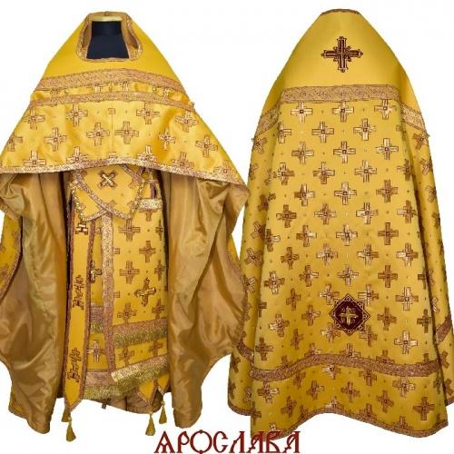 АРТ2120. Риза старообрядческая, шелк Афон. Комбинированная с однотонным атласным шелком, отделка цветной галун (золото с бордо).