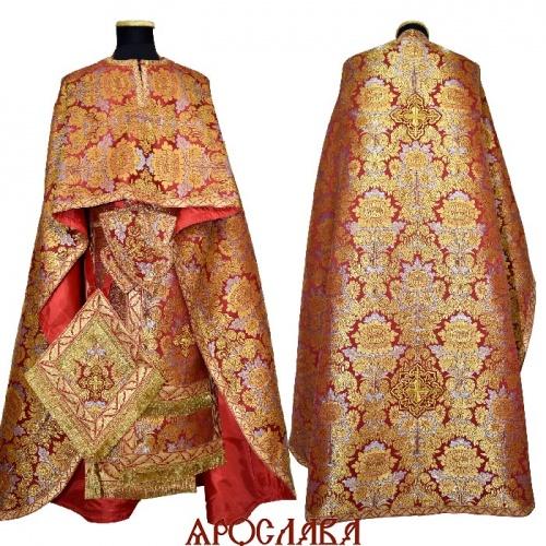 АРТ2152. Риза греческий крой, парча Леонилл, отделка цветной галун (красный с золотом).
