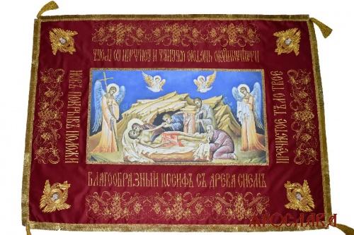 АРТ2155. Плащаница Спасителя с Предстоящими. Вышитая с иконой печать на холсте.