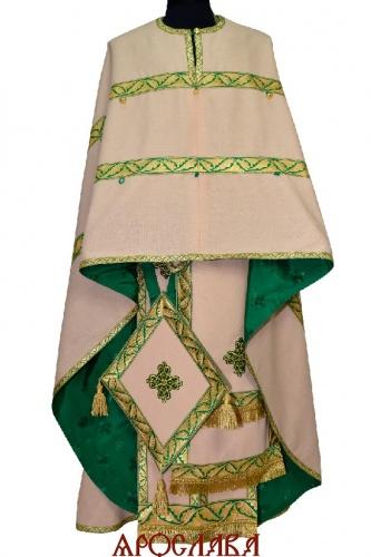 АРТ2235. Риза греческий крой,ткань лен, отделка цветной галун. На фелони дополнительный галун шириной 4см в два ряда. Спереди пуговицы для пристегивания свеса.