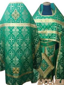 АРТ224. Риза зеленая шелк Виноградная лоза, обыденная отделка (цвет золото).