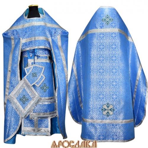 АРТ230. Риза голубой с серебром шелк Шуйский, обыденная отделка (цвет серебро).