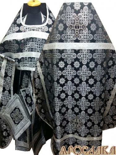 АРТ236. Риза черный с серебром шелк Вифлеем,обыденная отделка (цвет серебро).