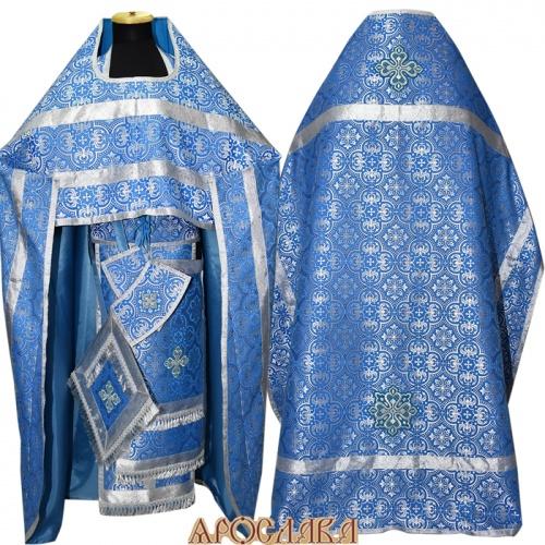 АРТ241. Риза голубой с серебром шелк Василия, обыденная отделка (цвет серебро).