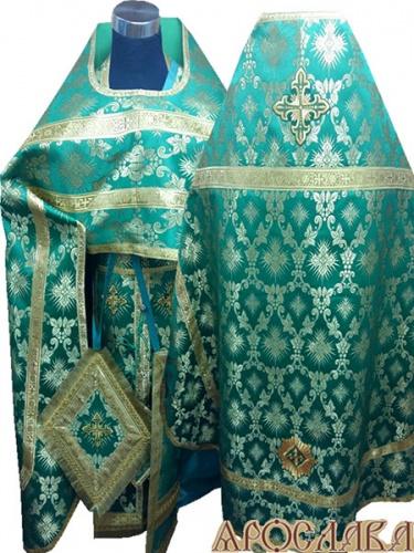 АРТ242. Риза зеленый шелк Терновый венец, обыденная отделка (цвет золото).