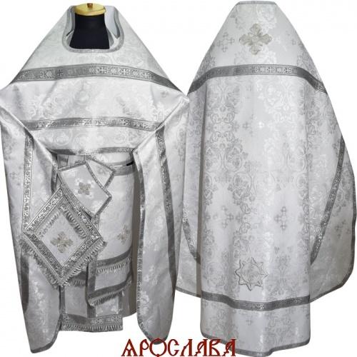 АРТ262. Риза белая шелк Слуцкий ,обыденная отделка (галун цвет серебро)