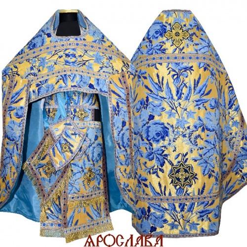 АРТ263. Риза греческий шенилл Лилия, отделка цветной галун (голубой с золотом). Витая бахрома, три кисти на палице.