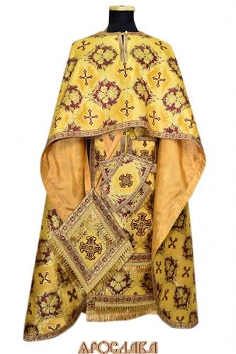 АРТ456. Риза греческий крой,желтая с бордовым парча Рождество,отделка цветной галун (бордовый с золотом).