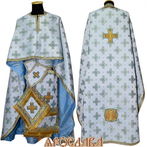 АРТ457. Риза греческий крой,белый с голубыми крестами шелк Святительский, отделка цветной галун (голубой с золотом).