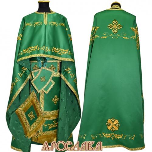 АРТ461. Риза греческий крой, зеленый однотонный атласный шелк, вышивка рисунок Благородный, отделка цветной галун (зеленый с золотом). Подклад хлопок с вискозой рисунок Мелкий крест.
