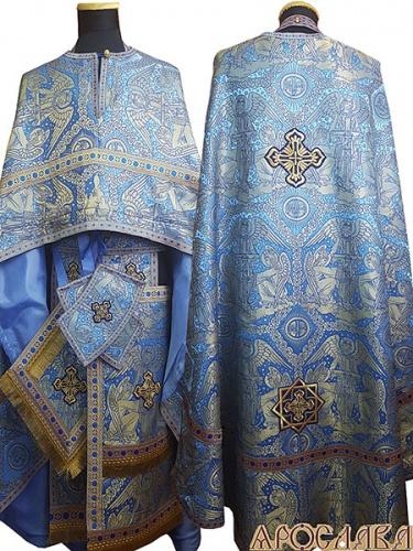 АРТ471. Риза греческий крой, голубая с золотом, греческая парча Ангелы, отделка цветной галун (голубой с золотом), на фелони дополнительный галун шириной 4см.