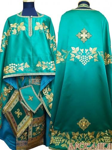 АРТ472. Риза греческий крой, зеленый однотонный атласный шелк, вышивка рисунок Корнилий, отделка цветной галун (зеленый с золотом).