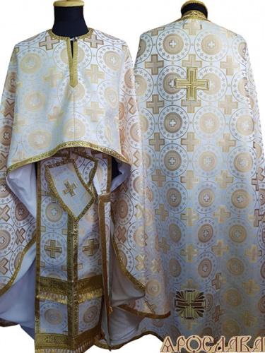 АРТ477. Риза греческий крой, белый с золотом шелк Мирликийский крест крупный, обыденная отделка (цвет золото).