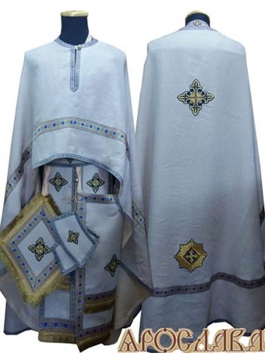 АРТ485. Риза греческий крой, белый лен, отделка цветной галун (голубой с золотом). На фелони дополнительный галун шириной 4см.