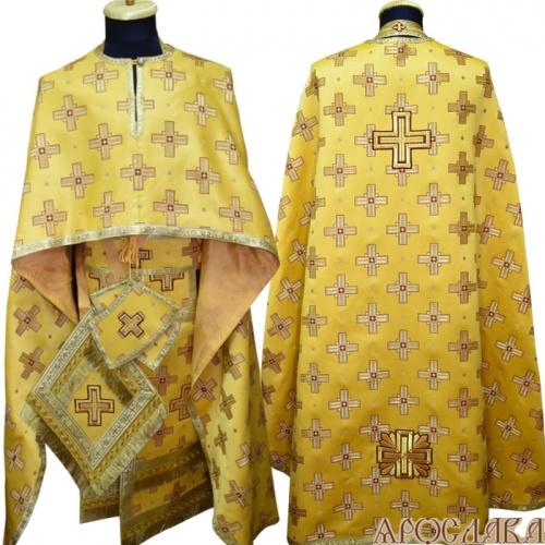АРТ487. Риза греческий крой, желтый шелк Святительский, обыденная отделка (цвет золото).