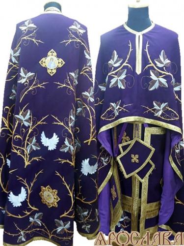 АРТ490. Риза греческий крой, фиолетовый габардин, вышивка рисунок Терновый венец увеличенный, обыденная отделка (цвет золото). В кресте вышитый ангел с чашей, в звездице херувим.