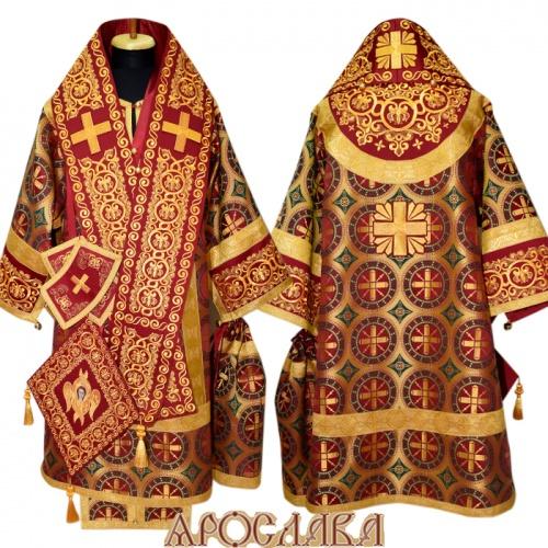 АРТ679. Архиерейское облачение с вышивкой рисунок Русский Афон, комбинированный с церковным шелком Троицкий.