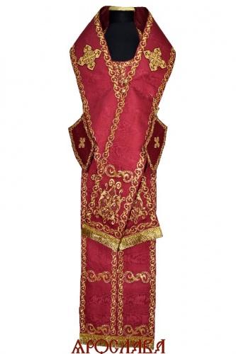АРТ681. Архиерейский требный набор вышитый с иконой Добрый Пастырь.Ткань муар.