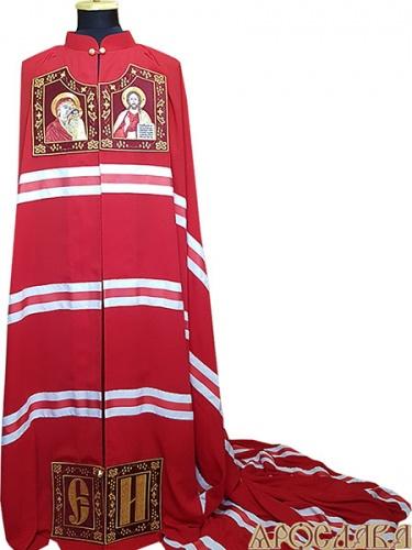 АРТ693. Архиерейская мантия.  Вышитые иконы Казанская Божия Матерь, Господь Вседержитель, инициалы. Ткань плотный шелк.
