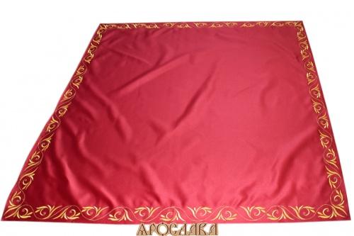АРТ908.Плат на жертвенник бордовый с вышивкой. Размер 70см*50см.