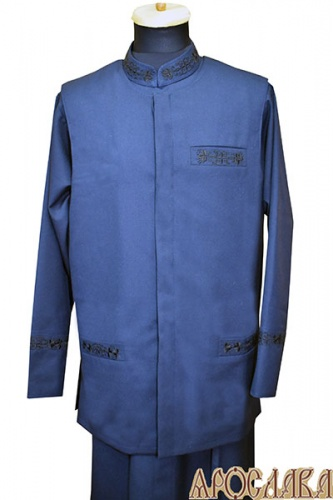 АРТ991. Жилет утепленный, ткань  полушерсть, два нижних кармана прорезные, один (слева) нагрудный прорезной карман, потайная застежка, утепленный синтепоном. Вышивка рис№19 : нижние и верхний карман.