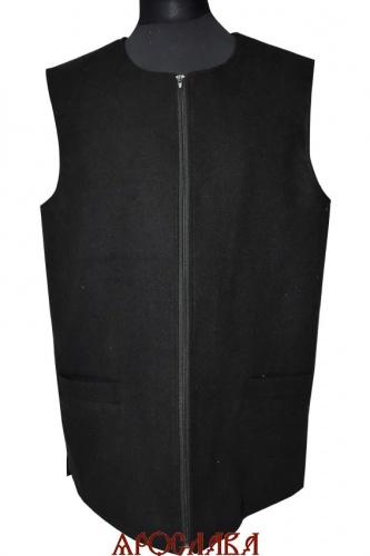 АРТ993. Жилет черный, утепленный синтепоном, застежка молния ,два нижних прорезных кармана
