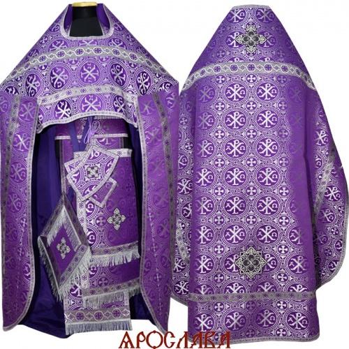 АРТ1018. Риза фиолетовая с серебром парча Альфа-Омега, отделка цветной галун (фиолетовый с серебром)
