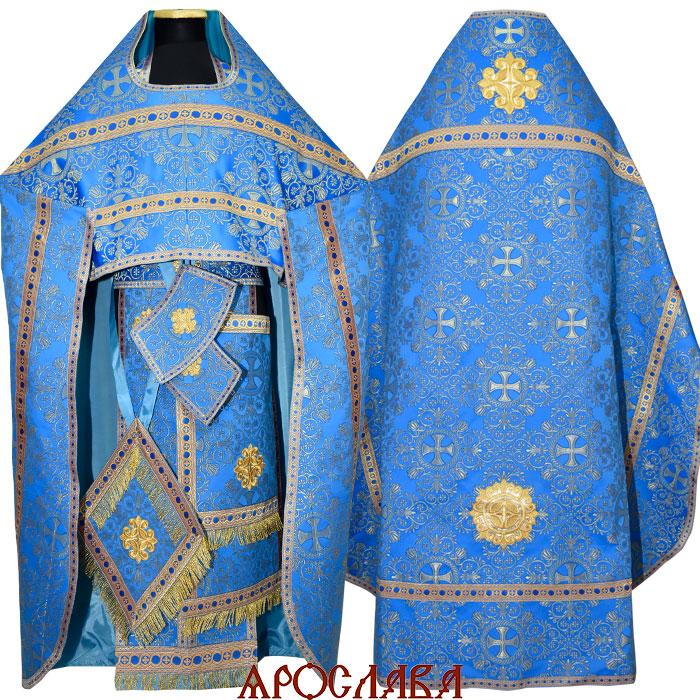 АРТ1019. Риза голубая с золотом парча Алания, отделка цветной галун (голубой с золотом)