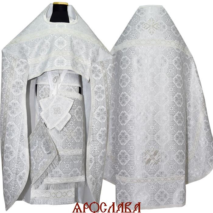 АРТ1020. Риза парча Покров, отделка цветной галун (белый с серебром)