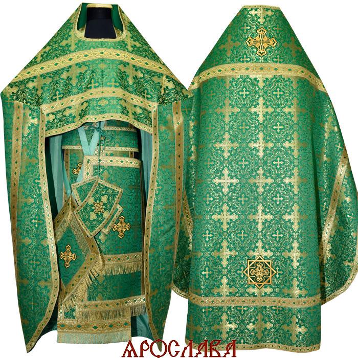 АРТ1021.Риза зеленая парча, отделка цветной галун (зеленый с золотом).
