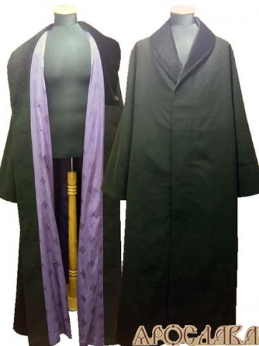 АРТ1053. Ряса (на осень), ткань черный кашемир, подклад фиолетового цвета с крестовым рисунком, ворот бархат.