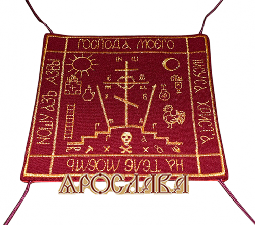 АРТ1072. Параман вышитый (большой). Ткань бордовое сукно. Вышивка цвет золото.Размер 14см*14см.