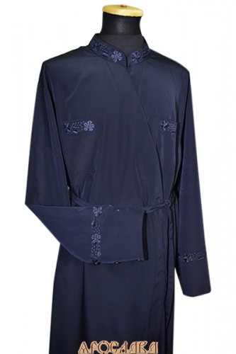 АРТ1088. Подрясник греческий. Ткань  мокрый шелк. Вышивка рис Виноград №9: ворот,нагрудные карманы, манжеты.