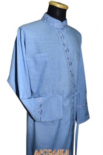 АРТ1095. Подрясник греческий. Ткань меланж. Вышивка рис Виноград №9: ворот,борт, манжеты.