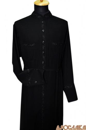 АРТ1096.  Подрясник-платье основа греческая, пуговицы до талии. Ткань мокрый шелк. Вышивка рис №2: ворот,планка, манжеты, карманы.