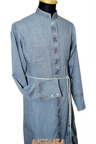 АРТ1097. Подрясник-платье на основе греческого. Ткань меланж. Вышивка три разных рисунка: ворот №15, борт №9, манжеты №2. Плетеный пояс из шнура с кисточками.