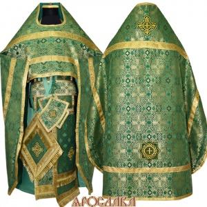 АРТ109.Риза зеленый шелк /Византийский/,обыденная отделка.