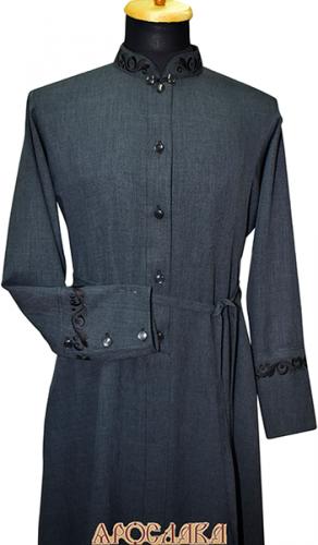 АРТ1102. Подрясник-платье основа русская, ворот греческий, ткань меланж. Вышивка рис №18: ворот, манжеты. На воротнике застежка восьмерка.