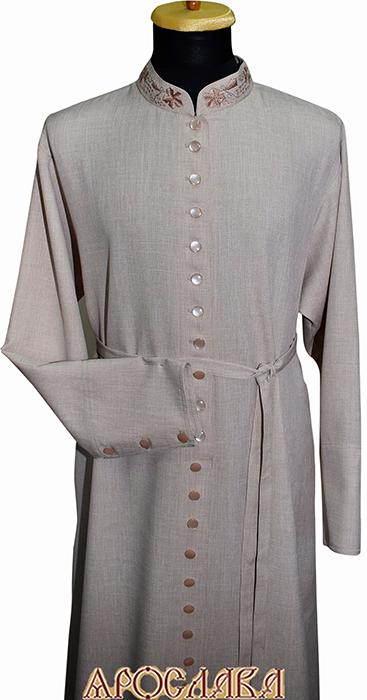 АРТ1104. Подрясник-платье основа русская, ворот греческий, ткань меланж. Вышивка рис №9: ворот. 33 пуговицы