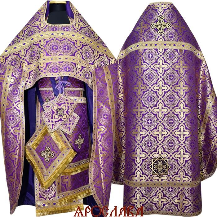 АРТ110.Риза фиолетовая с золотом шелк Златоуст, отделка цветной галун