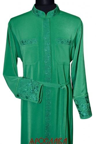 АРТ1116. Подрясник-платье основа греческая, ткань плотная костюмная. Кант верх манжета. Вышивка широкий рисунок Виноград: ворот, манжет, карманы, планка.Застежка молния, кнопки.