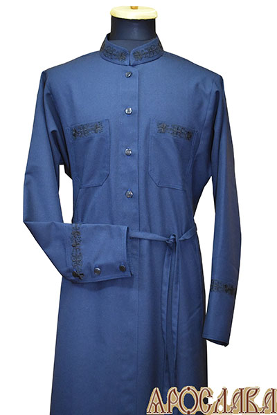 АРТ1118. Подрясник-платье основа греческая, ткань полушерсть. Вышивка рис.Виноград №19: ворот, манжеты, карманы.
