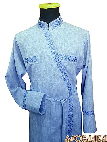 АРТ1123. Подрясник-платье на основе греческого. Ткань меланж. Вышивка рис.№11: ворот, борт, манжеты, карманы.