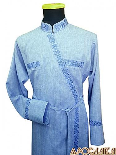 АРТ1123. Подрясник  греческий. Ткань меланж. Вышивка рис.№11: ворот, борт, манжеты, карманы.