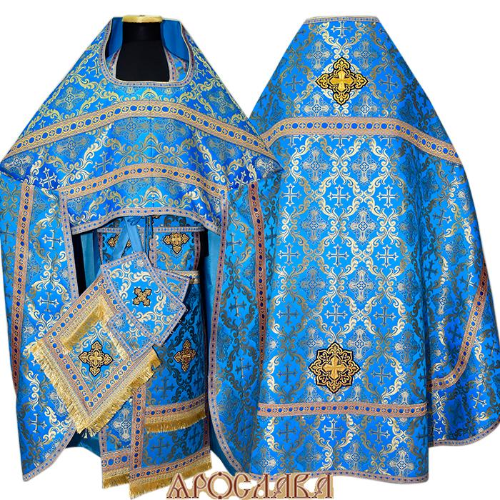АРТ113.Риза голубой шелк с золотом Никольский,отделка цветной галун (синий с золотом).