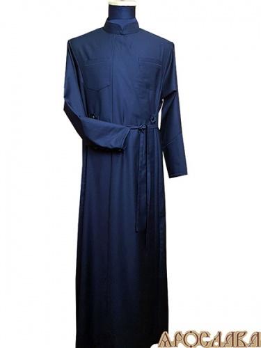 АРТ1141. Подрясник греческий, запах на две стороны. Ткань черный мокрый шелк. Декоративная строчка ворот,карманы,манжеты. Высокий манжет.