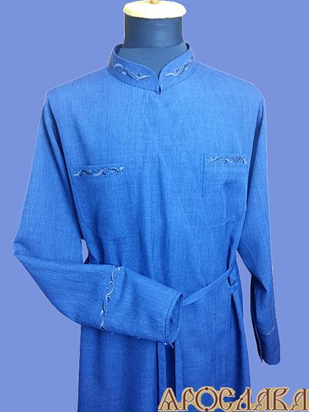 АРТ1142. Подрясник греческий. Ткань меланж. Вышивка рис №1: ворот,нагрудные карманы, манжеты.